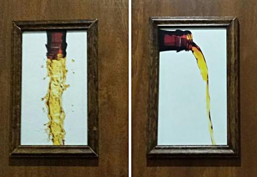 Bạn có thể xác định nên vào phòng vệ sinh nào chỉ với biển hiệu một chai bia đổ dọc và đổ ngang chứ?(Ảnh: Internet)