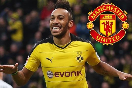 Manchester United sẽ nâng cấp hàng công của mình bằng Aubameyang? (Ảnh: The Sun)