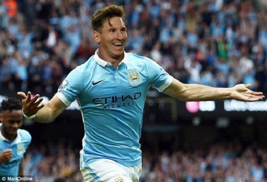 Messi có thể khoác áo Man City trong tương lai. (Ảnh: MailOnline)