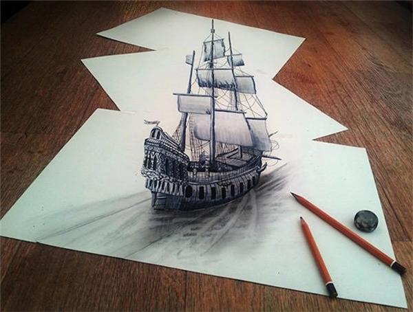 Con tàu như đang bơi trên giấy.