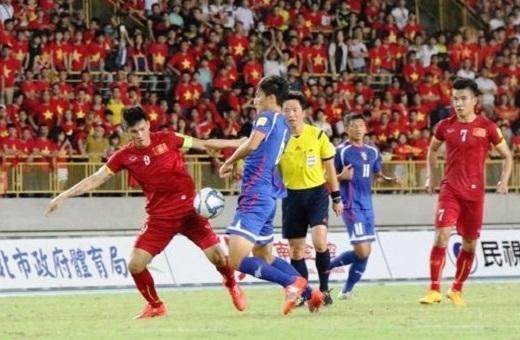 Trận lượt đi tại Đài Loan, ĐTVN đã có chiến thắng đầy may mắn với hai pha lập công của Phi Sơn và Tiến Thành. (Ảnh: Nhật Đoàn)