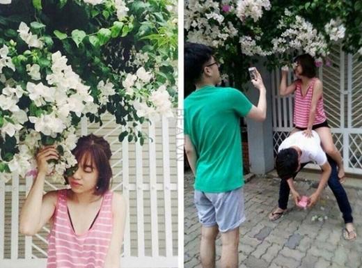 Để có bức ảnh chụp cùng hoa xinh lung linh, cô gái này phải nhờ đến tấm lưng vững chắccủaanh bạn kia. (Ảnh: Internet)