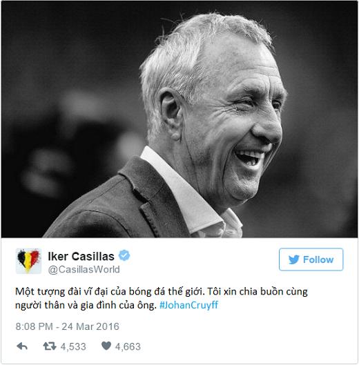 Thế giới bóng đá bàng hoàng trước cái chết của Johan Cruyff