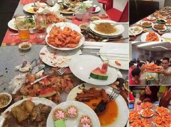 Đồ ăn còn thừa lại quá nhiều trên bàn sau khi các du khách rút khỏi nhà hàng.