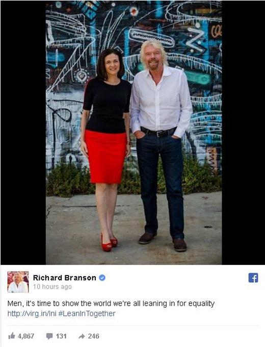 cùng doanh nhân Richardson Branson đều ủng hộ chiến dịch #LeanInTogether. (Ảnh: Internet)