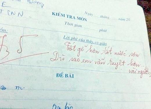 Người giáo viên này còn dành hẳn một câu thơ cho bài làm củahọc sinh. (Ảnh: Internet)