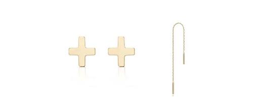 Hai set khuyên tai thanh mảnh thuộc thương hiệu J.ESTINA Croce Hélio có giá phải chăng với đôi bên trái khoảng 3,5 triệuđồng và đôi bên phải khoảng 930 nghìn đồng.(Ảnh: Internet)