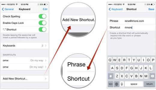 """Tạo""""lối tắt"""" đầy tiện ích như vậy bằng cách vào Settings ? General > Keyboard > Shortcuts.(Ảnh: Internet)"""