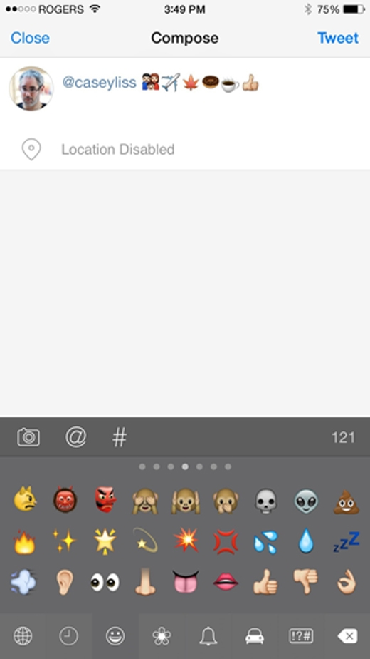 Apple tạo hẳn một bàn phím gõ emoji kích hoạt mặc địnhcho người dùng.(Ảnh: Internet)