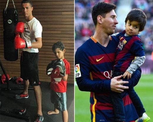 Ronaldo và Messi cùng có con trai. (Ảnh: Internet)