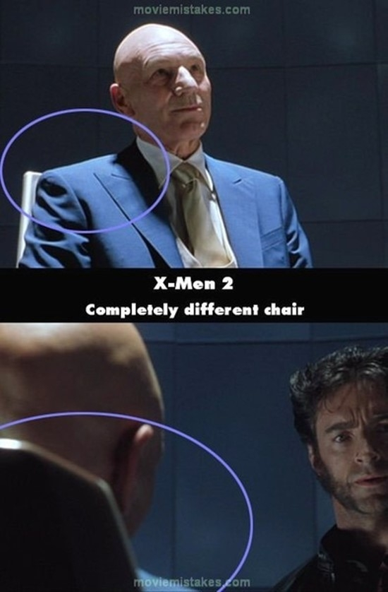 X-Men 2: Chiếc ghế đã có sự thay đổi khi phần tựa lưng ở cảnh sau bỗng dài hơn cảnh trước.(Ảnh: Internet)