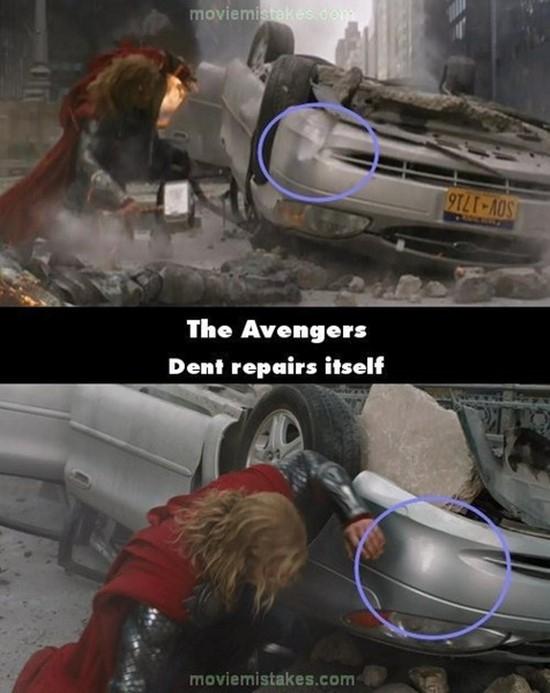 """The Avengers: Vết lõm trên chiếc xe ô tô cũng tự """"bốc hơi"""".(Ảnh: Internet)"""