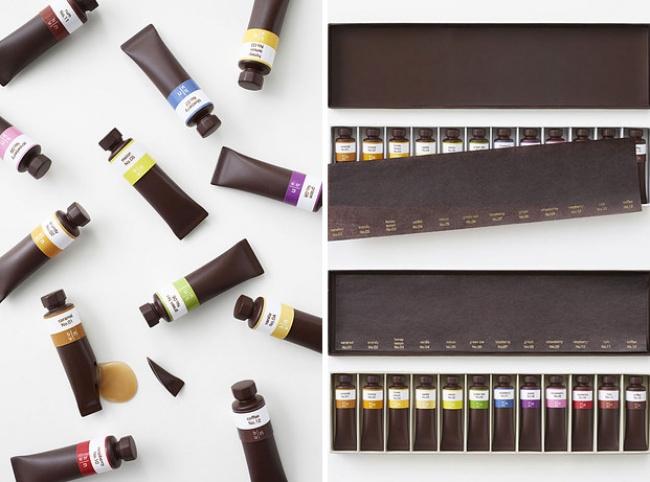 Socola hình tuýp nước với bên trong là từng loại siro khác nhau ứng với từng màu sắc. (Ảnh: Bright Side)