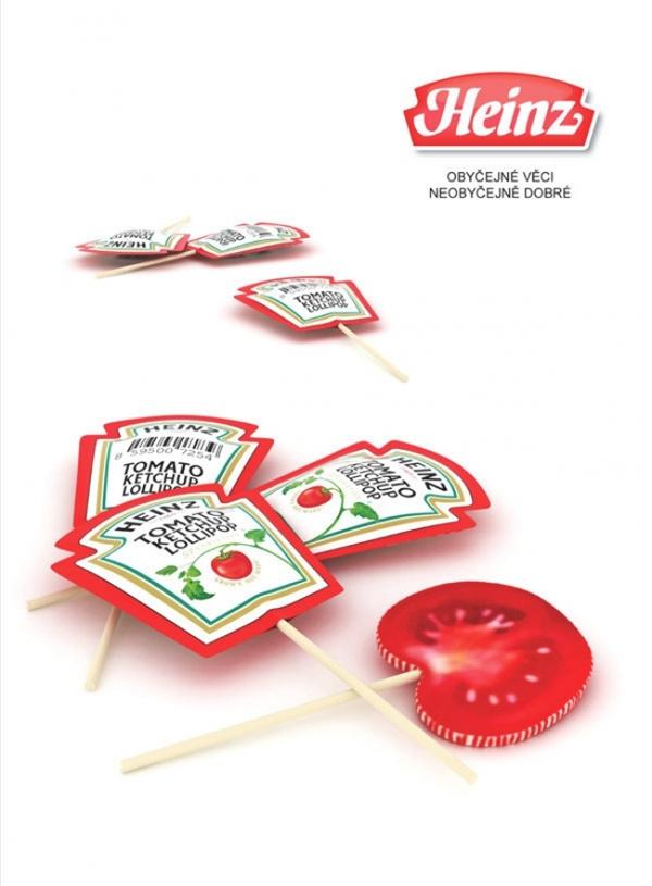 Kẹo mút có vị cà chua và vỏ bọc hình túi sốt cà chua. (Ảnh: Bright Side)