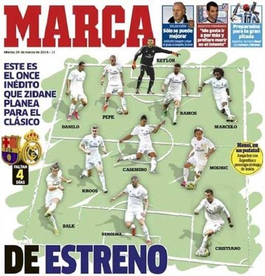 Đội hìnhmà Marca tin Real sẽ sử dụng. (Ảnh: Marca)