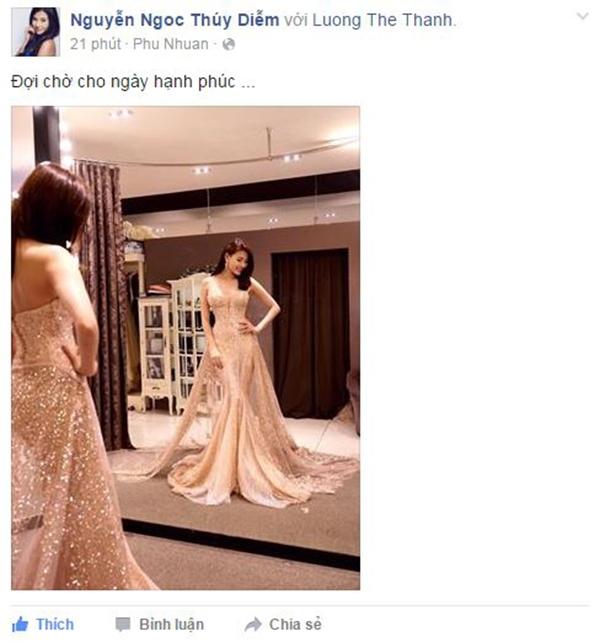 """Mới đây, trên trang cá nhân của mình, vợ sắp cưới của Lương Thế Thành đã đăng tải hình ảnh cô đi thử váy cưới cùng lời chia sẻ: """"Đợi chờ cho ngày hạnh phúc"""". Có thể thấy, nữ diễn viên đang rất hồi hộp và mong chờ đến ngày trọng đại của mình. - Tin sao Viet - Tin tuc sao Viet - Scandal sao Viet - Tin tuc cua Sao - Tin cua Sao"""
