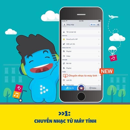 Truy cập app NhacCuaTui và mở tính năng tại màn hình Của Tui