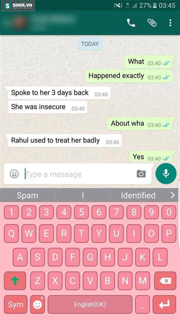 Tin nhắn ám chỉ rằng Pratyusha Banerjee không hoàn toàn tin tưởng bạn trai mình.