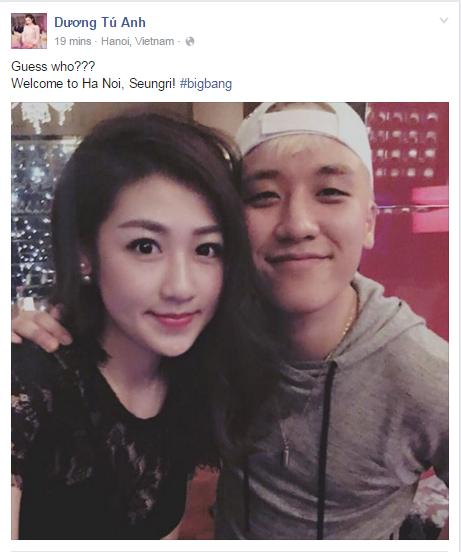 """Trang cá nhâncủa Dương Tú Anh cập nhật hình ảnh chụp cùng Seungri với dòng nhắn: """"Đoán xem đây là ai? Chào mừng anh đến với Hà Nội, Seungri à! #bigbang"""""""