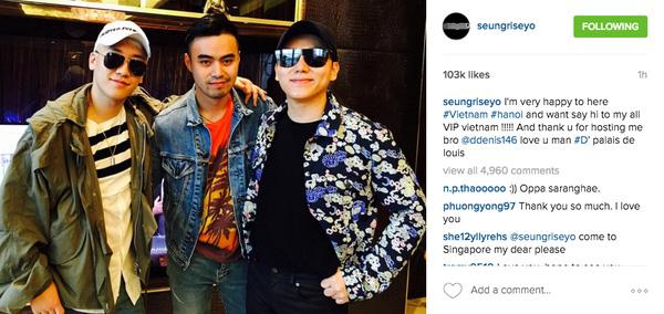 """Seung Ri gửi lời cảm ơn vì Denis Do đã giúp mình có một đêm vui vẻ tại Hà Nội. Cậu út Big Bang thậm chí còn nói """"love you"""" với Denis Do."""