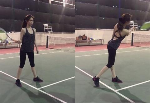 Gần đây, thay vì khoác lên mình những bộ cánh xa hoa, Ngọc Trinh lại chia sẻ những hình ảnh cô nàng chăm chỉ trên sân quần vợt. - Tin sao Viet - Tin tuc sao Viet - Scandal sao Viet - Tin tuc cua Sao - Tin cua Sao