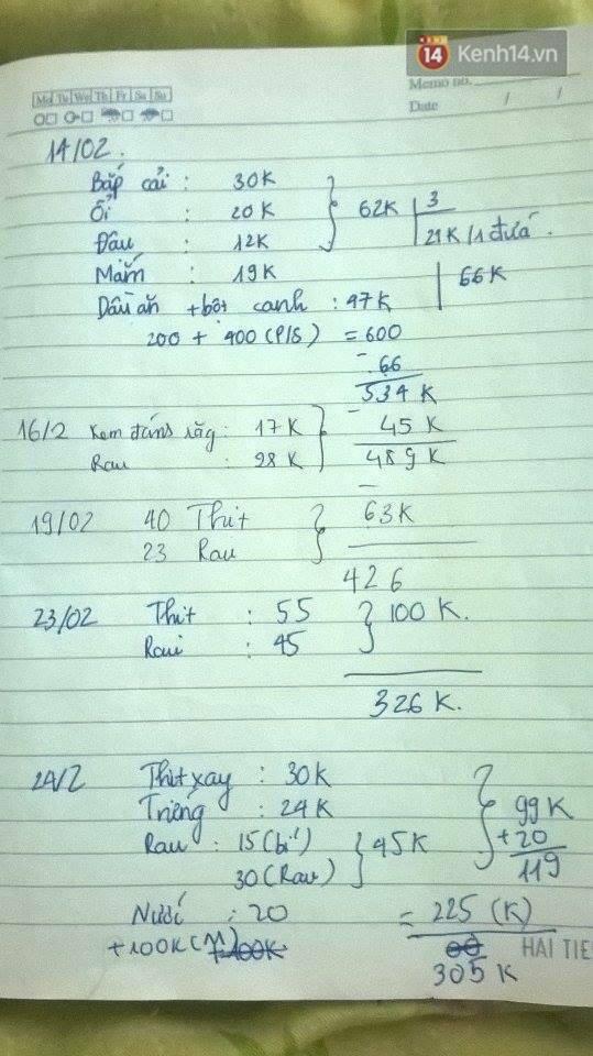 Sổ ghi chi tiết tiền ăn uống hàng ngày - cách làm được Kỳ và nhiều bạn sinh viên áp dụng để tính toán tiền nong sòng phẳng.