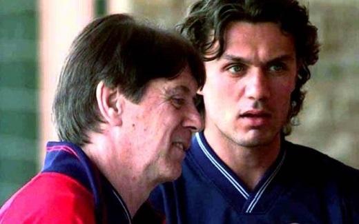 Huyền thoại Cesare Maldini cùng con trai ông, Paolo Maldini. (Ảnh: Internet)