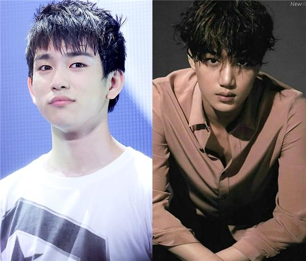 """Cùng sở hữu vẻ ngoài điển trai nhưng dường nhưKai (EXO)trông """"nhỉnh"""" hơn so với tuổi thật của mình và người bạnJr (GOT7)cùng sinh năm 1994."""