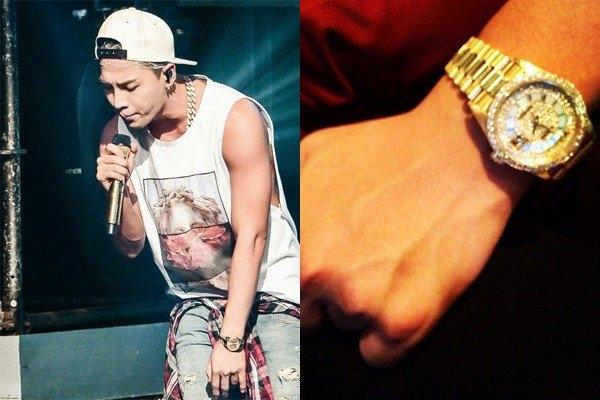 Taeyang cũng sở hữu chiếc Rolex vàng trị giá 500 triệu VNĐ giống G-Dragon còn TOP lại tậu hẳn cho mình một chiếc Rolex gắn kim cương có tổng giá trị gần 900 triệu VNĐ.