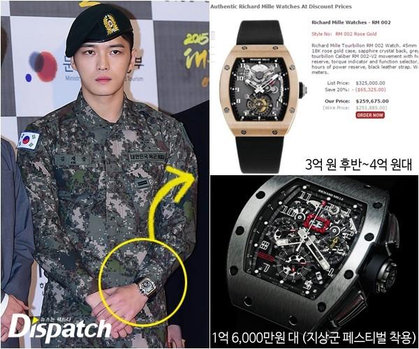 """Nhưng nếu xét về độ chịu chi, hẳn hiếm ca sỹ nào vượt mặt được Jaejoong khi anh sở hữu chiếc đồng hồ siêu cấp Richard Mille với mức giá """"khủng khiếp"""" 3,2 tỉ VNĐ."""