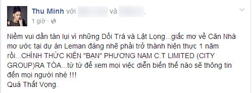 Dòng trạng thái thất vọng của Thu Minh trước việc chậm trễ thi công của dự án Leman.