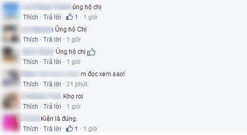 Rất nhiều bình luận ủng hộ hành động quyết liệt của Thu Minh.