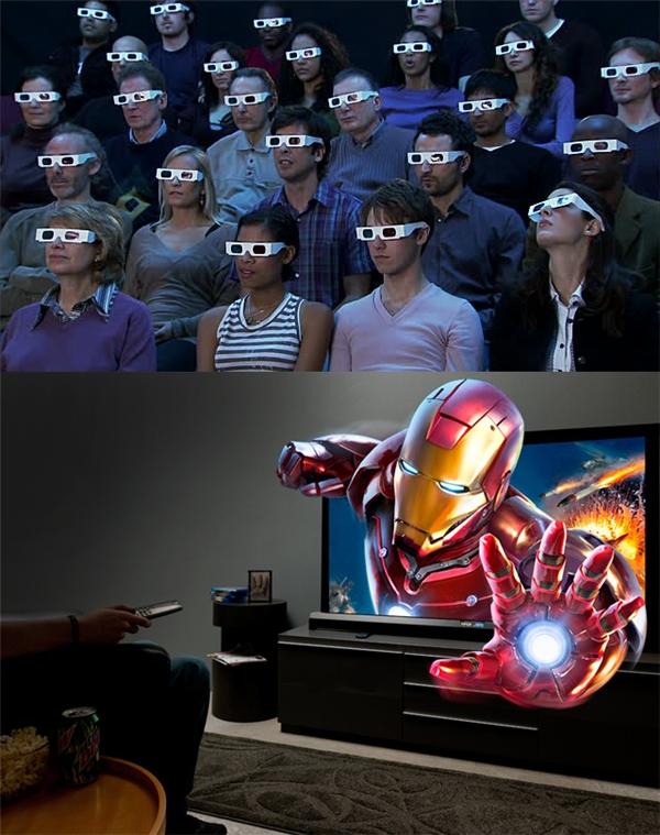 Hồi xưa muốn xem phim 3D là phải ra rạp. Giờ chỉ cần ngồi ở nhà cũng xem được 3D.