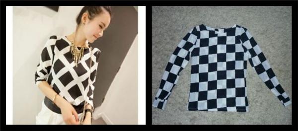 Trên hình rõ ràng là sọc ca-rô xéo trông rất lịch lãm, nhưng áo nhận được lại trông như bàn cờ vua. (Ảnh: Internet)