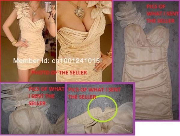 Không những vai áo bị ngược mà chất liệu vải cũng một trời một vực, đường chỉ thì bị sứt khiến người mua tức tối chụp hình phàn nàn với người bán. (Ảnh: Internet)