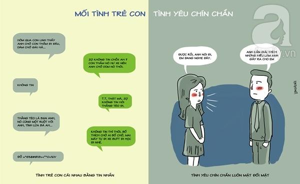 Mối tình trẻ con cãi nhau qua tin nhắn cũng có thể chia tay. Nhưng tình yêu chín chắn thì biết đối mặt để... đối thoại.