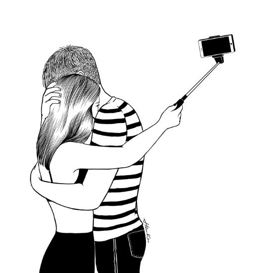 Cô yêu anh hay cô yêu bản thân mình hơn? Khoảnh khắc âu yếm của tình yêu cũng không bằng những lượt like, bình luận trên mạng xã hội. Ở thế giới ảo, sự thật luôn được phơi bày. (Ảnh: Internet)