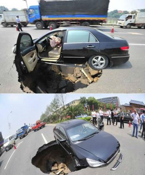 Anh lái xe hẳn phải cảm ơn cuộc đời hoặc gần nhất là cảm ơn hãng sản xuất chiếcđã thiết kế chiếc ô tô này đủ dài để không lọt thỏm xuống hố tử thần này. (Ảnh: holahola)
