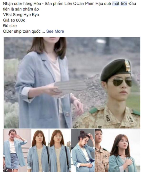 Chiếc vest giả màu xanh mà Song Hye Kyo mặc trong ngày đầu đến Uruk được nhiều fan lùng mua. (Ảnh: Internet)