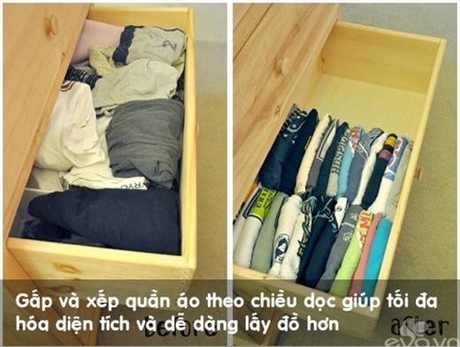 Xếp quần áo theo chiều dọc sẽ tiết kiệm diện tích nhiều hơn.(Ảnh: Internet)