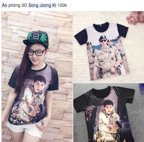 Áo thun nữ in hình đại úy do Song Joong Ki thủ vai. (Ảnh: Internet)
