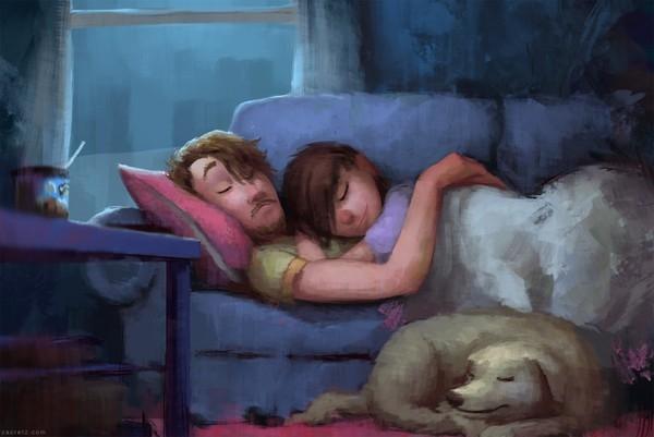 Trong vòng tay anh và mơ những giấc mơ đẹp.