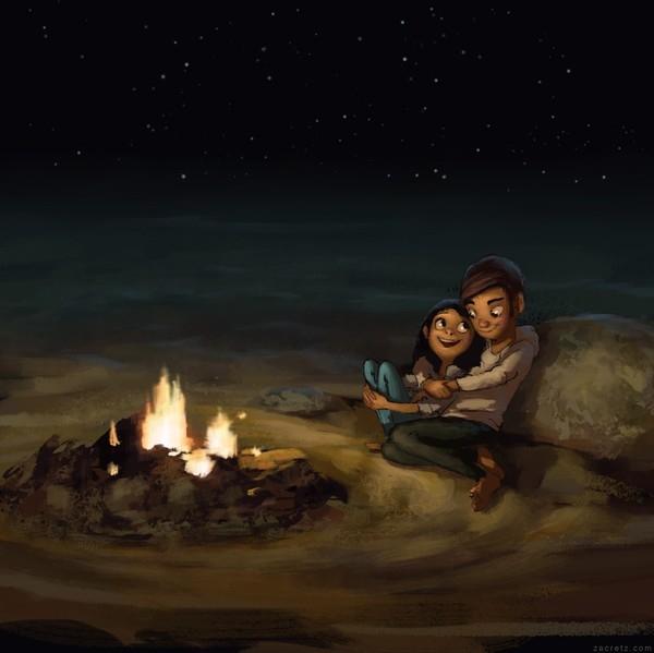Ngọn lửa sưởi ấm em hay tình yêu của anh sưởi ấm trái tim em?
