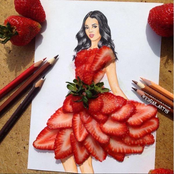 Bạn có bao giờ nghĩ sẽ mặc một chiếc váy được làm hoàn toàn bằng những quả dâu tây đỏ mọng?