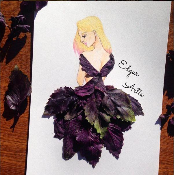 Những lá rau thơm màu tím thẫm được xếp đan lồng vào nhau tạo nên dáng váy xòe khoét lưng gợi cảm.