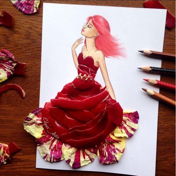 Vỏ táo kết hợp cùng cánh hoa hồng tạo nên chiếc váy hài hòa về màu sắc, cấu trúc. Thoạt nhìn, chắc chắn bạn sẽ khó thể nhận biết được nguyên liệu làm nên chúng.
