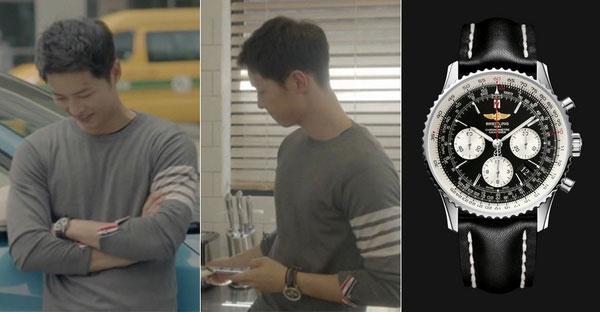 Trong 'Hậu Duệ Mặt Trời', anh cũng diện chiếc đồng hồ màu đen rất giá trị, chiếc đồng hồ ngự trị trên cổ tay chàng đại úy đến từ thương hiệu Thụy Sỹ Breitling danh tiếng, thuộc dòng Navitimer 01 với giá khoảng 226 triệu đồng.