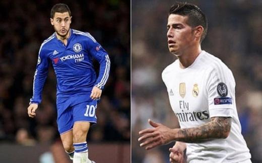 Eden Hazard và James Rodriguez. (Ảnh: Internet)