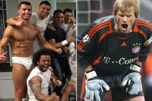 Oliver Kahn khó chịu với thói khoe thân của Ronaldo. (Ảnh: Internet)