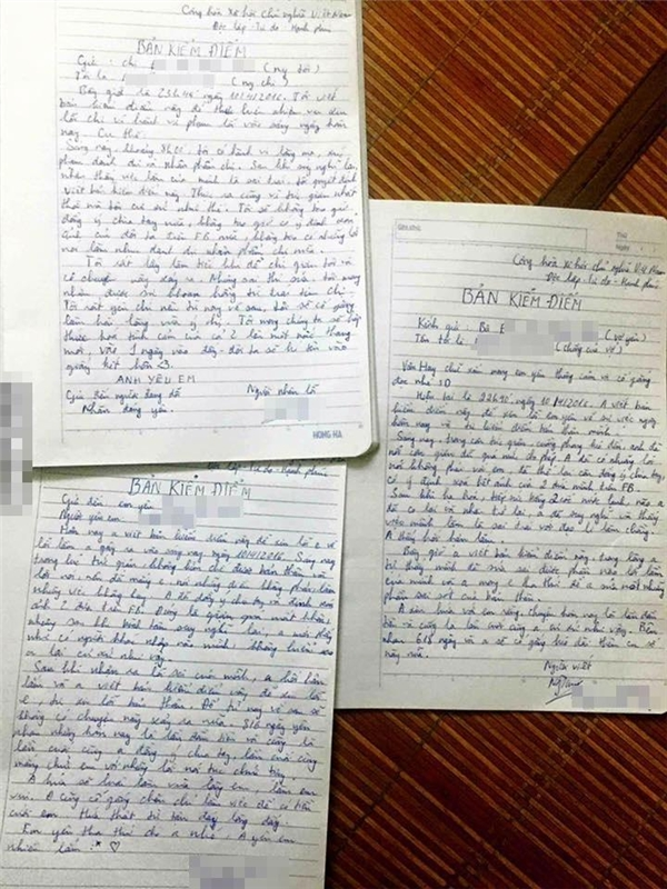 Những bản kiểm điểm tình yêu khác mà anh chàng từng viết (Ảnh: Internet)